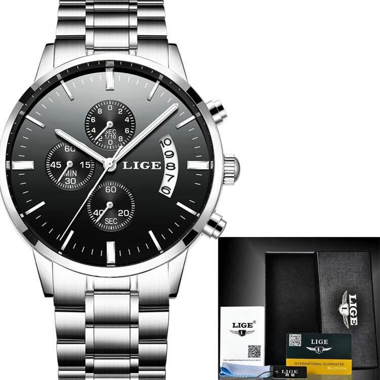 LIGE Watch Men Fashion Sport Quartz Clock Mens Watches Top Brand Luxury Full Steel Business Waterproof Watch Relogio Masculino 9827 Malaysia