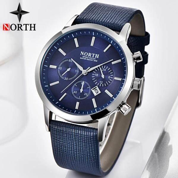 NORTH Mens Watches Top Brand Luxury Fashion Men Quartz Watch Sports Casual Men Leather Waterproof Watch Malaysia