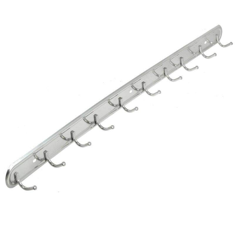 24 Long Wall Mount Stainless Steel 10 Hangers Hook for Towl Bag Clothes