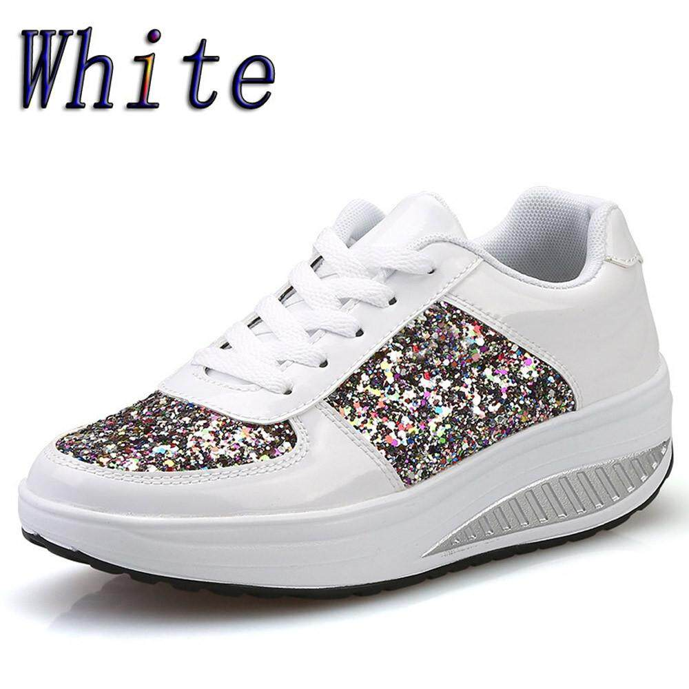 199a55adc3109 Women s Ladies Wedges Sneakers Sequins Shake Shoes Fashion Girls Sport Shoes