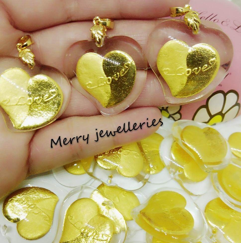 Merry Jewelleries 999 Pendant Crystal Love (gold) By Merry Jewelleries.