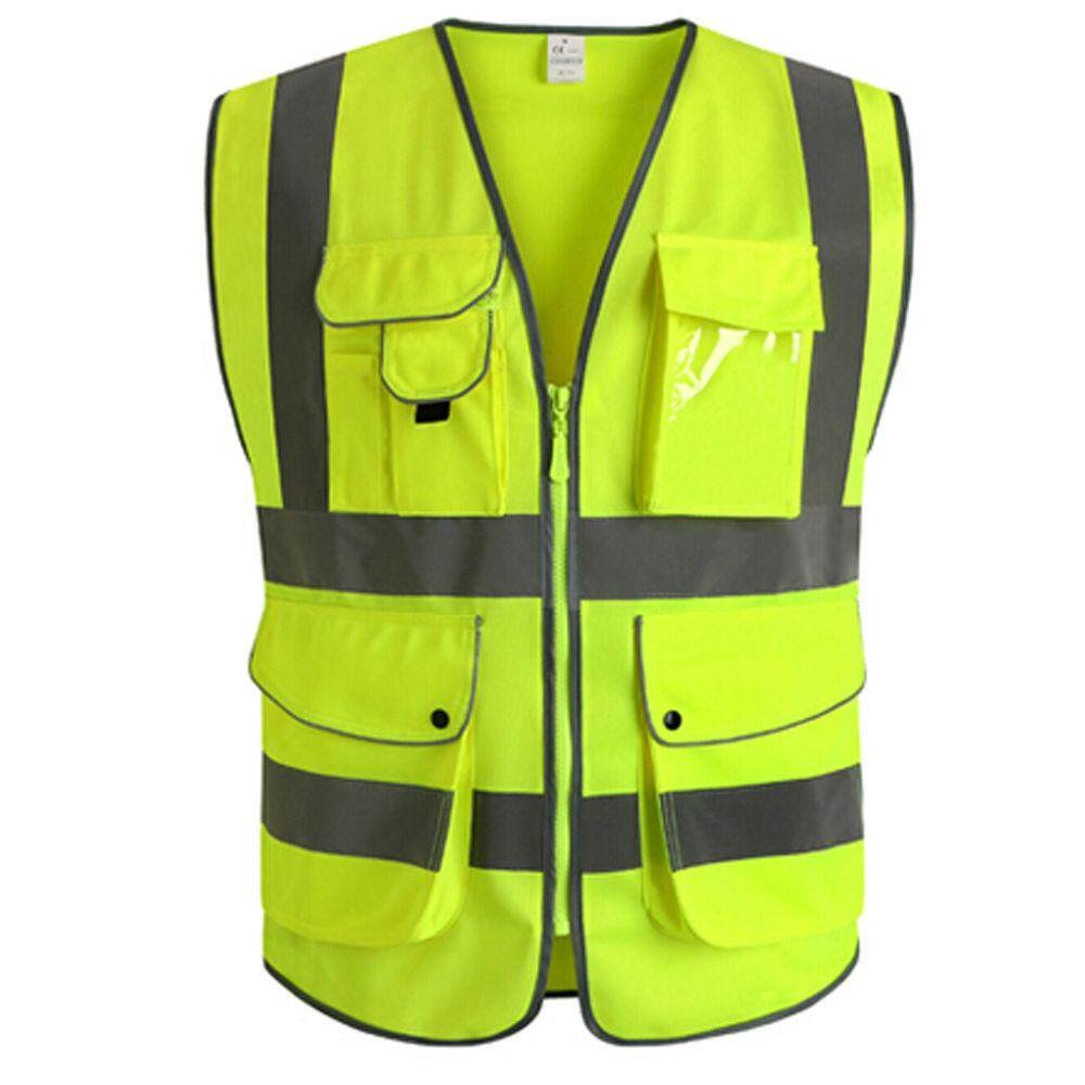 5 Pocket Neon Green High Visibility Reflective Construction Safety Security Vest # L