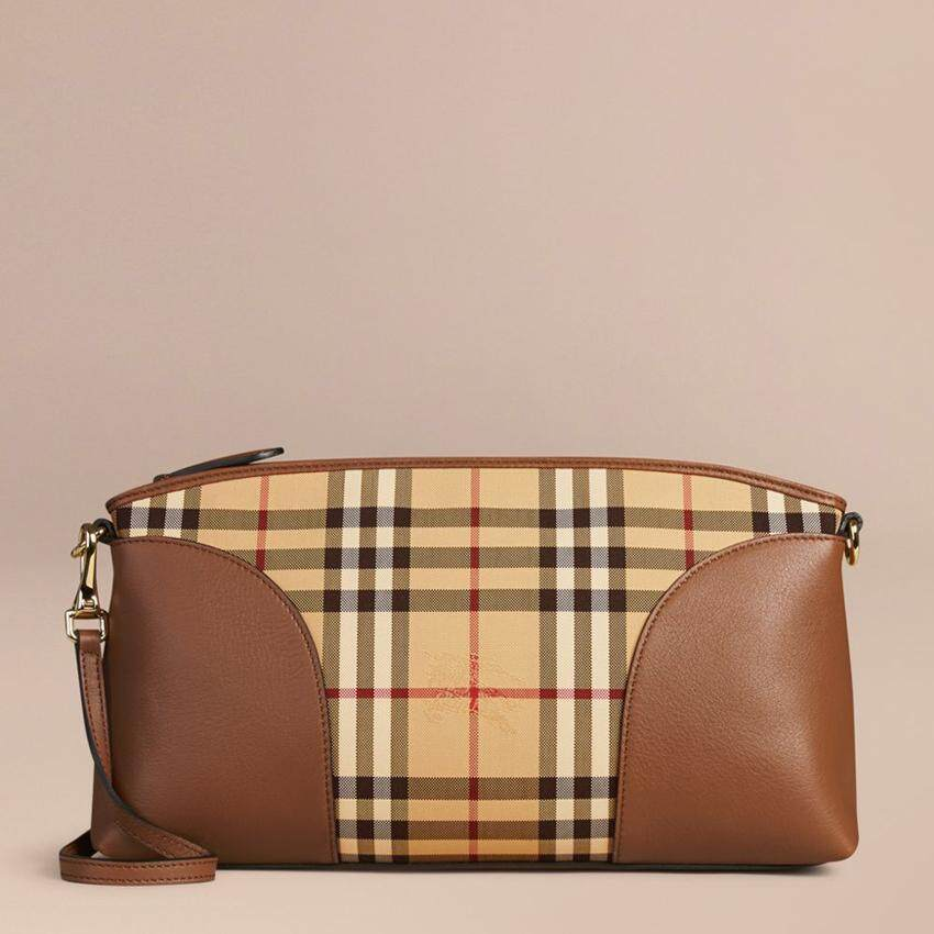 Malaysia Burberry Horseferry Check Small Chichester Clutch Honey Tan