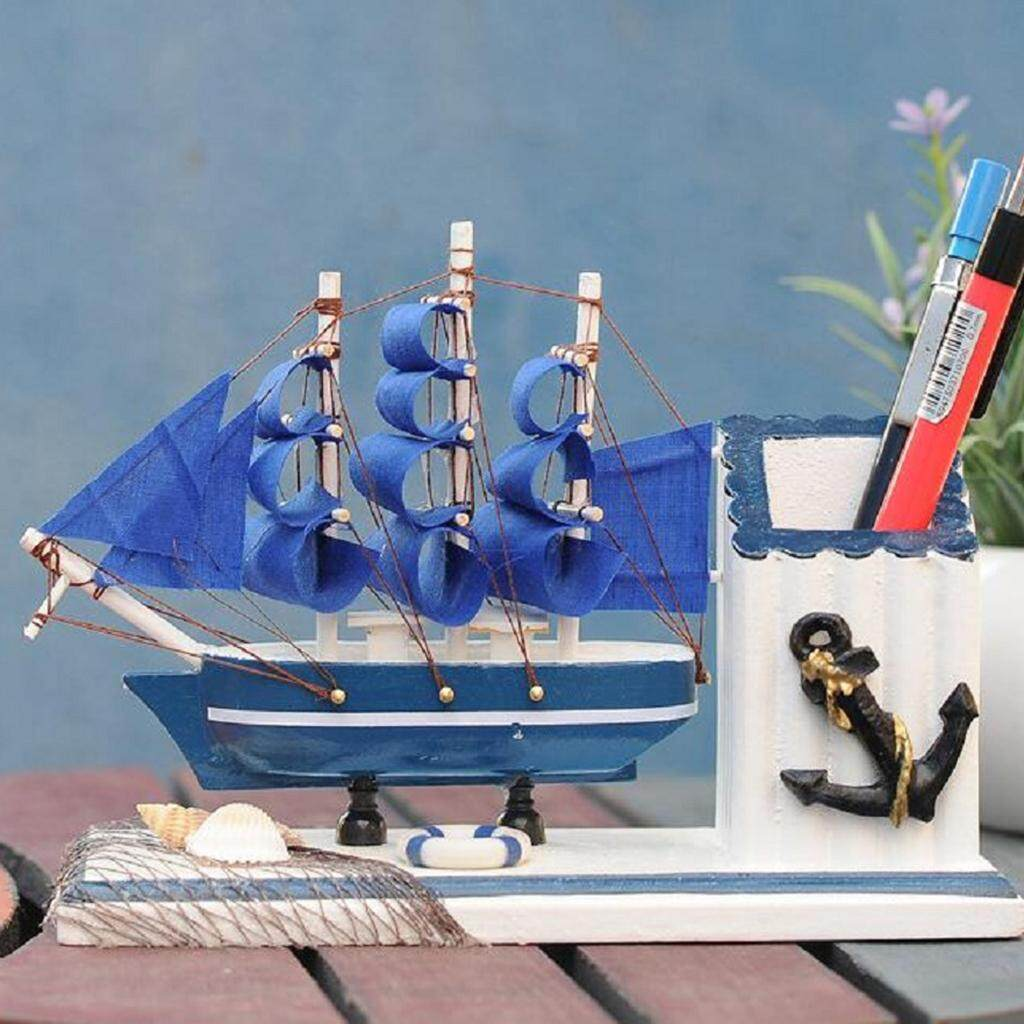 Loviver Nautical Decor Gift Mediterranean Wooden Sailboat Pen Holder Pot Home Office By Loviver.