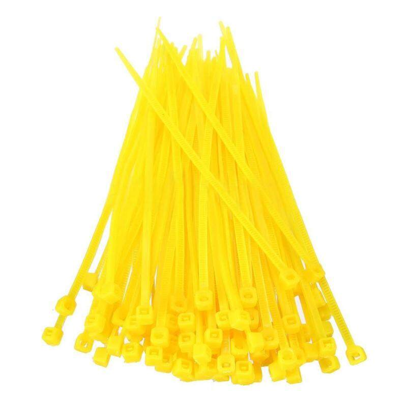 100X 2.5mmx100mm Nylon Cable Wire Zip Ties Cord Wrap Strap Color:Yellow
