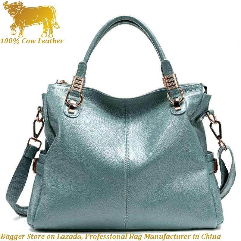 Malaysia High Quality 100 Genuine Cow Leather Women Top Handle Shoulder Beg