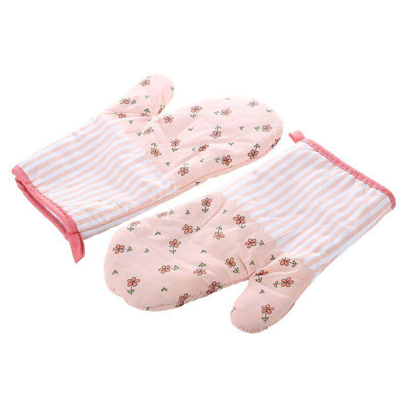 2x Oven Gloves Microwave BBQ Oven Cotton Baking Pot Mitts Kitchen Oven Mitts Heat Resistant Cooking Gloves Pink