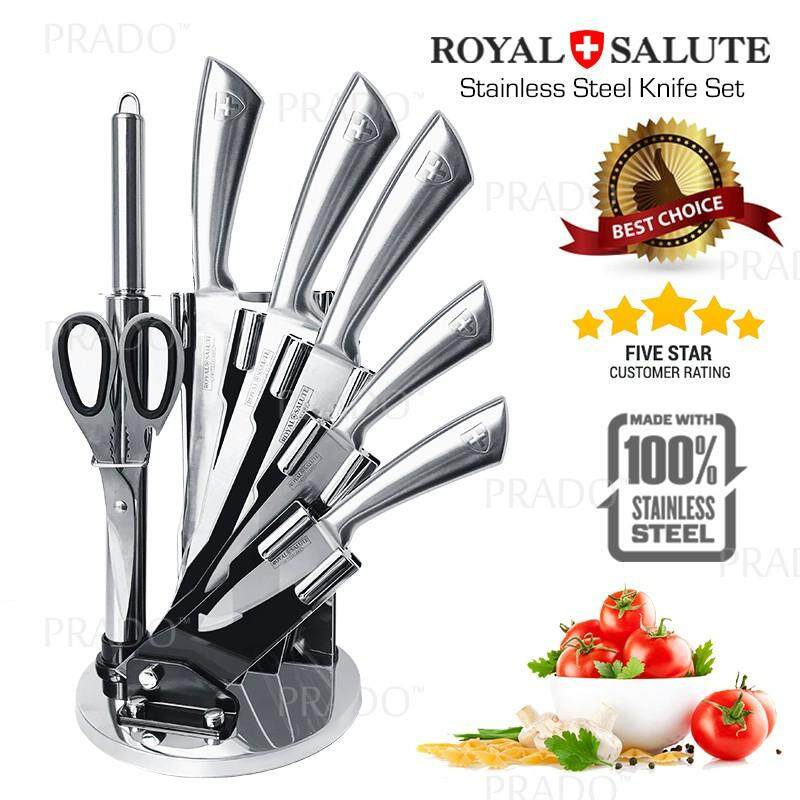 Gadget Hero 8pc Royal Salute Stainless Steel Knife Set Knifes Acrylic Holder Rs 6021