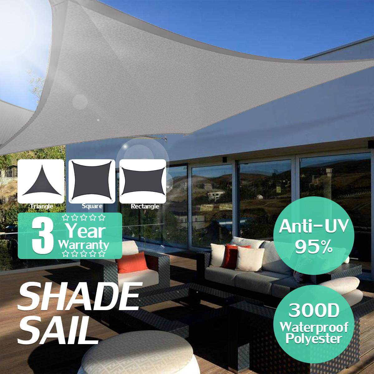 Grey Extra Heavy Duty Shade Sail Sun Outdoor Square