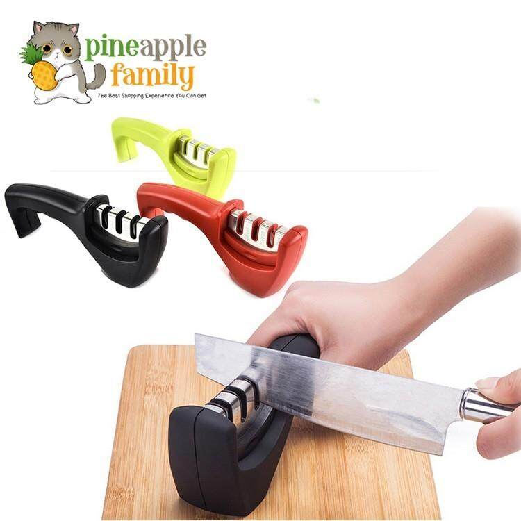 Stainless Steel 3 Stage Knife Sharpener (random Color) By Pineapple Family.