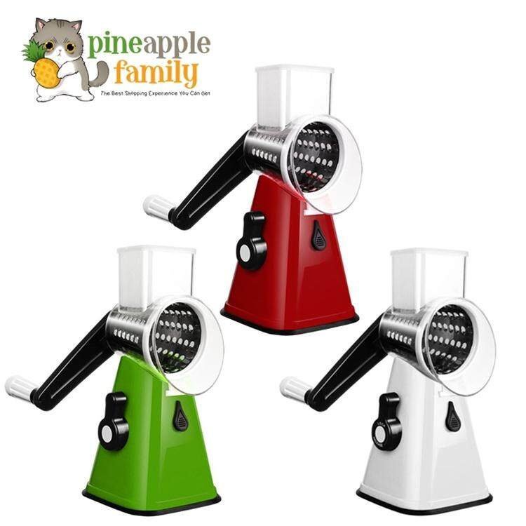 Iker Manual Hand Speedy Mandoline Slicer With 3 Round Stainless Steel Blades For Fruit Vegetable By Pineapple Family.