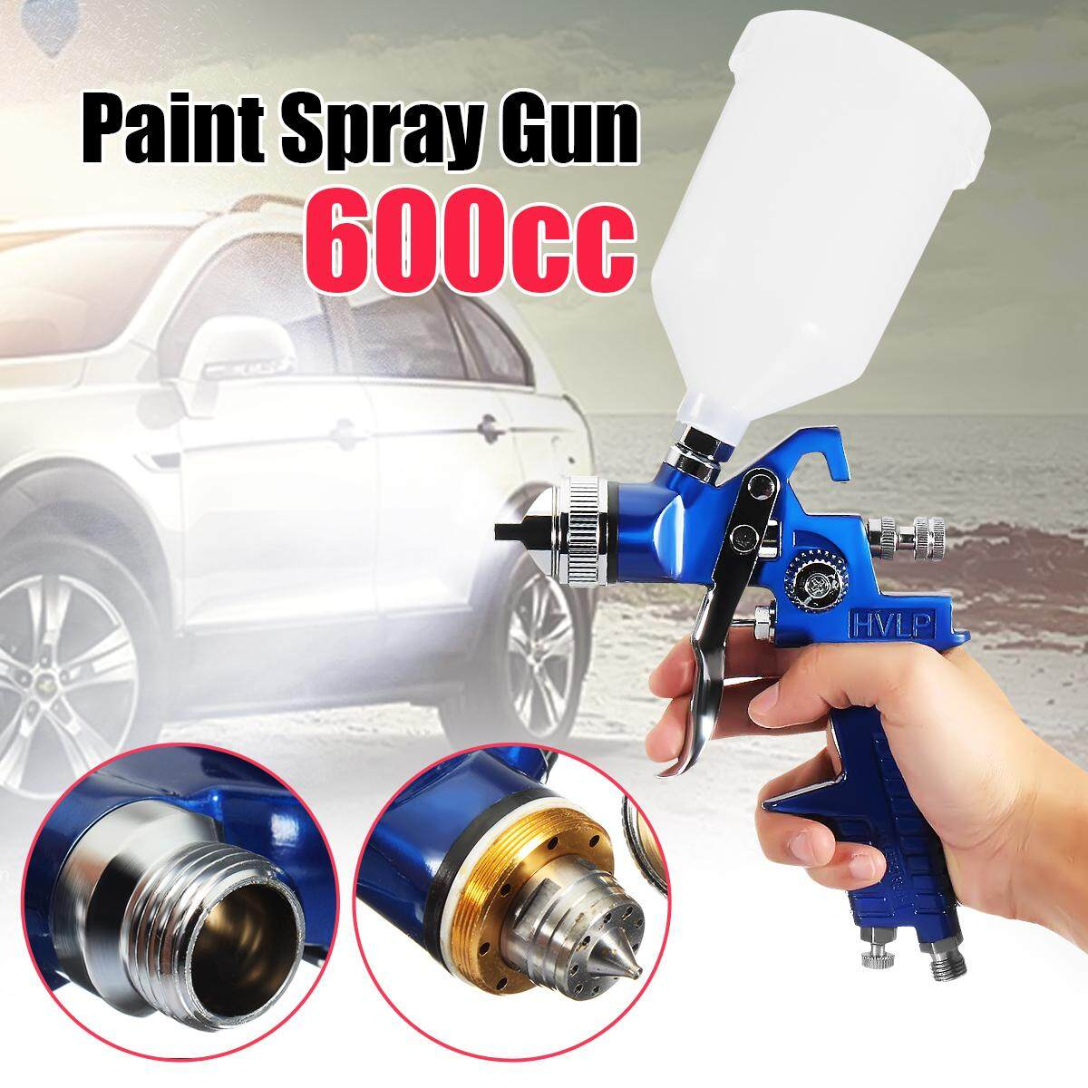 HVLP Gravity Feed Sprayer tool Car Vehicle Paint 1.4MM 1.7MM 2MM Nozzle 600CC Cup