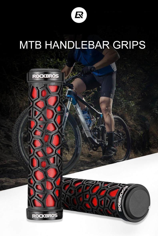 RockBros Cycling Double Lock Handlebar Grips Anti Skid Rubber Bike Grips Red