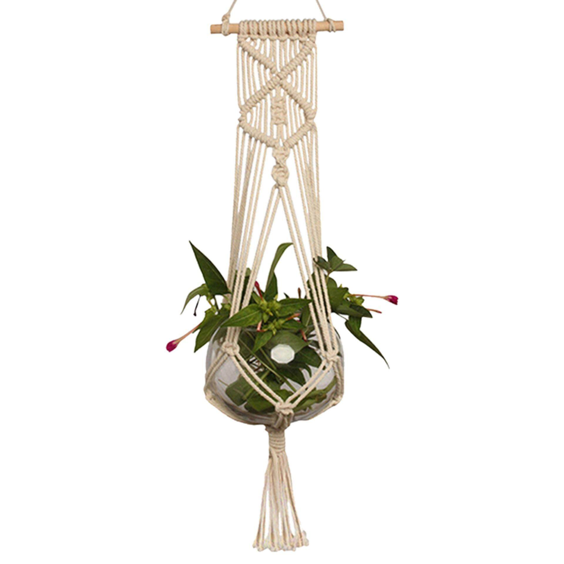 Veli shy Pot Holder Macrame Plant Hanger Hanging Planter Basket Jute Rope Braided Craft