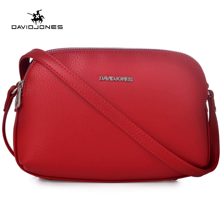 DAVIDJONES women handbag pu leather female crossbody bag small lady Plain shoulder bag girl casual messenger