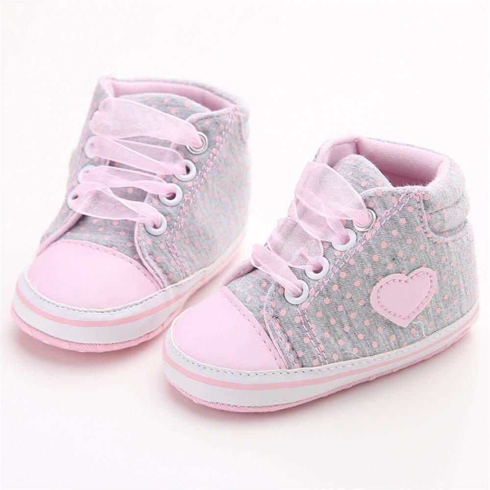 848a72f38 Likelyhood Infant Newborn Baby Girls Polka Dots Heart Autumn Lace-Up First  Walkers Sneakers Shoes