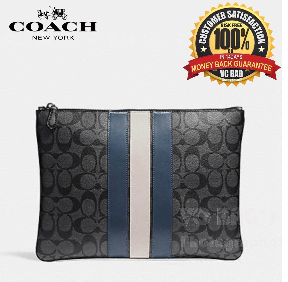 c38f8963e7 COACH F26071 Large Pouch Bag in Signature Canvas with Varsity Stripe   Midnight Nvy Denim
