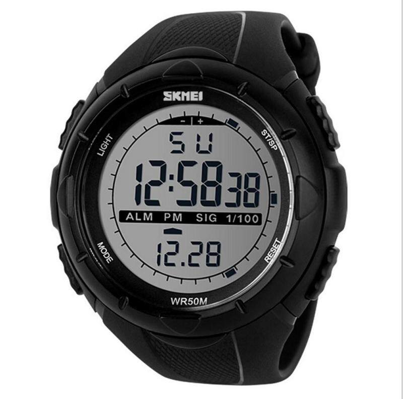LinTimes Men`s Big Case Waterproof Multifunctional Military Sport Wrist Watch Digital LED Sport Watch with Rubber Band - Black Malaysia