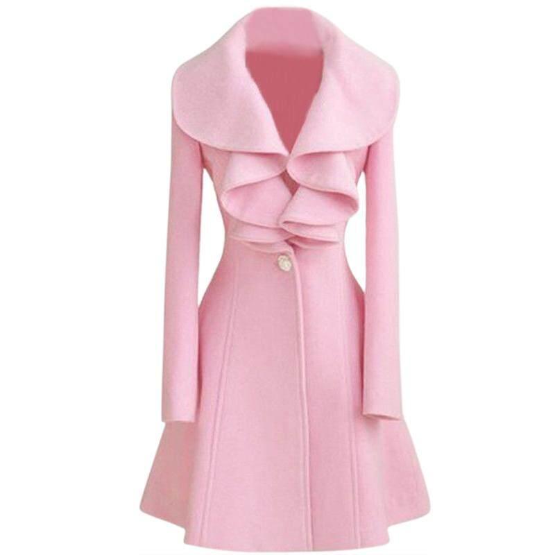 Fashion Womens Slim WOOL Warm Long Coat Jacket Trench Windbreaker Parka  Outwear Pink Size L 5e4c3487d7d3