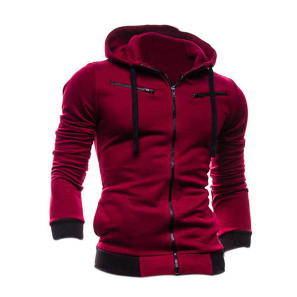 Chic Zipper Mens Hoodie Cardigan Fashion Coats New Sexy Slim Fit Sweater Jacket Red Wine M (intl) By Sunnny2015.