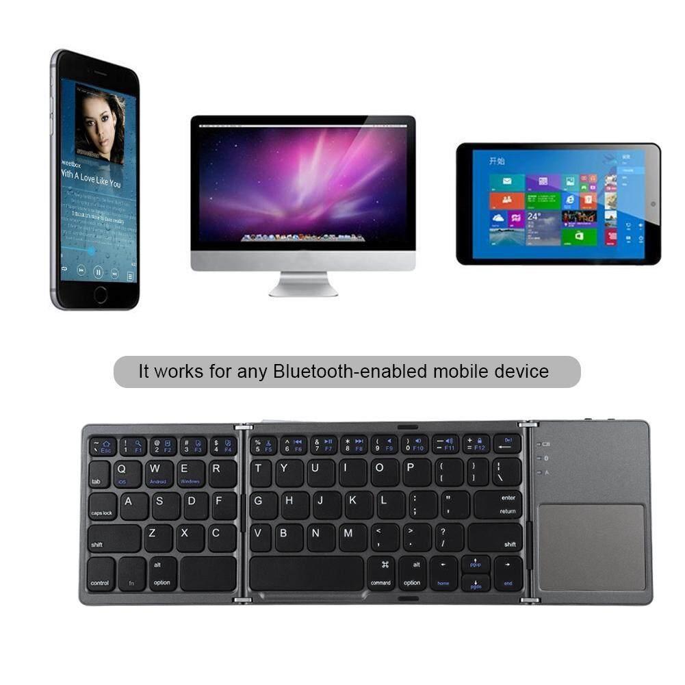 Tri-fold Wireless Bluetooth Keyboard Folding Touch Pad Bluetooth Keyboard Black Malaysia