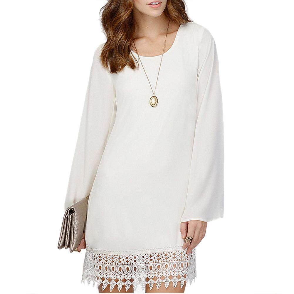 a143e55816d Women Sexy O-Neck Loose Shirt Long Sleeve Plus size Formal Casual Lace Dress  White