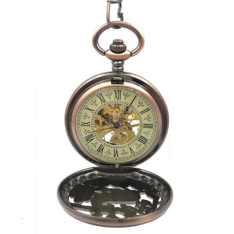 CAIFU Brand Antique Style Steampunk Deer Copper Tone Case Roman Number Dial Mechanical Movement Hand Wind Pocket Watch w/Chain Malaysia