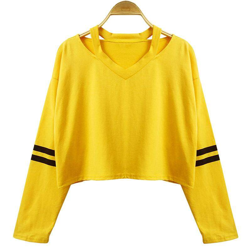 Women Casual Cotton Striped Stitching V Neck Midriff-baring Crop Top Hoodie Loose Punk Long