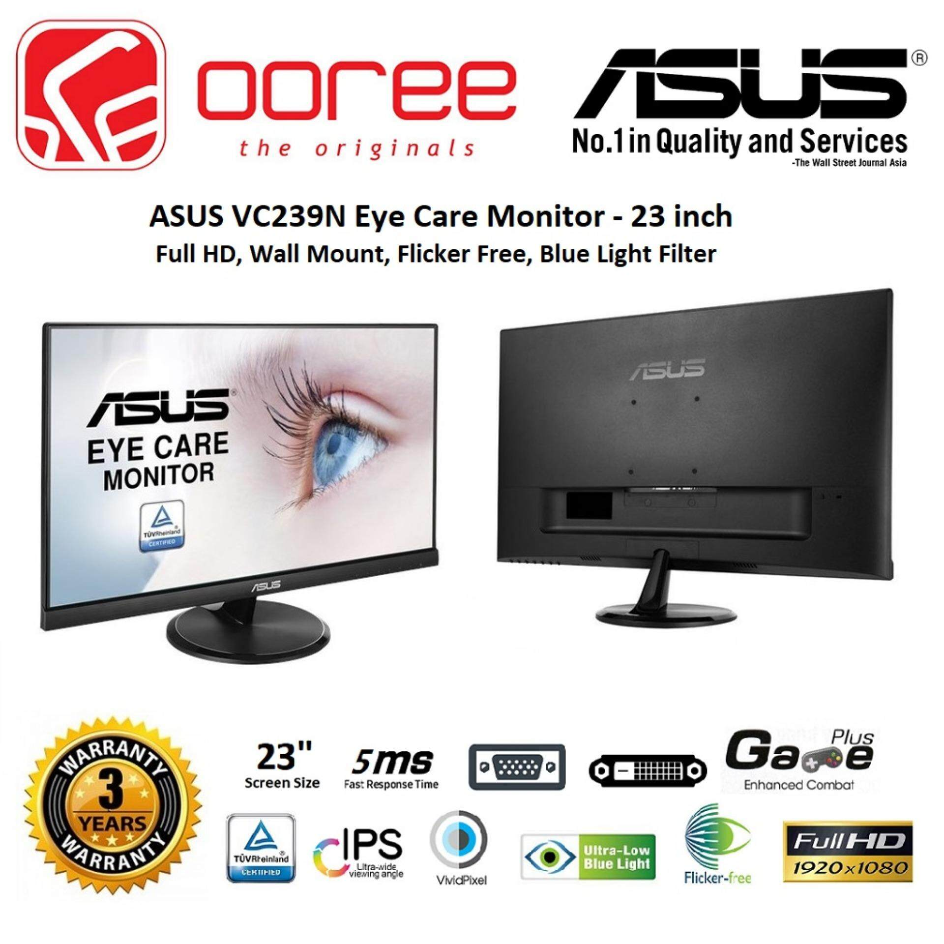 ASUS 23 VC239N LED FLAT HD READY (RESOLUTION: 1920x1080) IPS LCD MONITOR (5MS RESPONSE TIME, DVI INPUT, NO SPEAKER, VESA WALL MOUNT) 3YEARS WARRANTY, BLACK COLOUR Malaysia