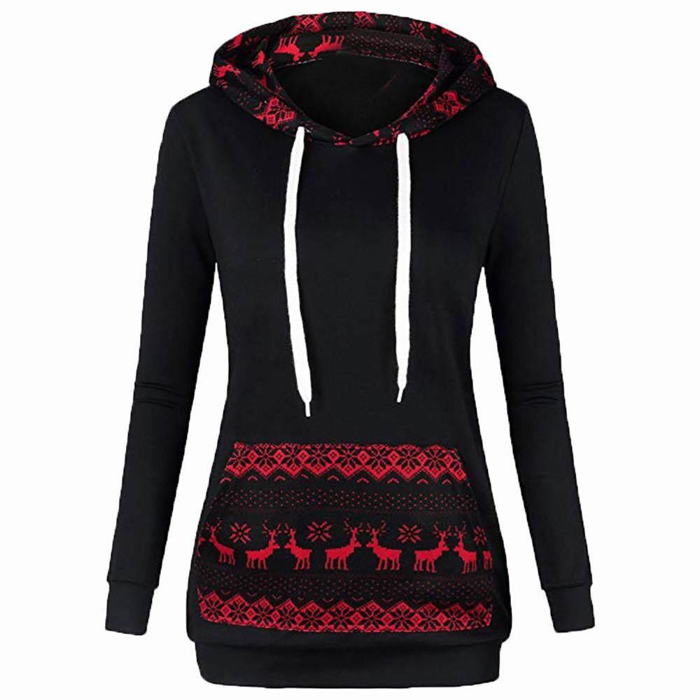 2d9753b12ac IDASIC Fashion Casual Women Patchwork Hoodie Sweatshirt Christmas Print  Pullover Blouse