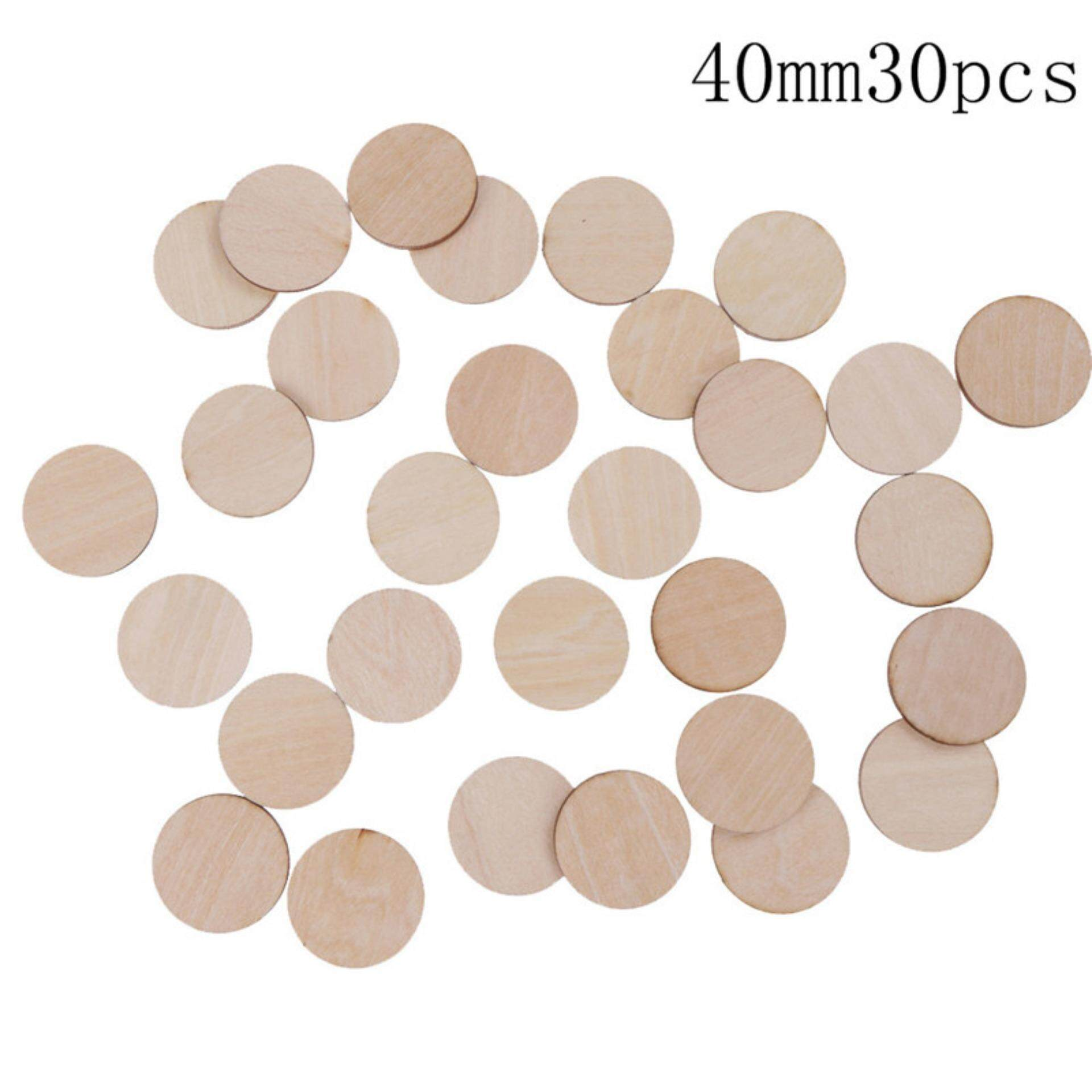 Unfinished Wooden Round Discs Embellishments DIY Rustic Art Crafts  4mm