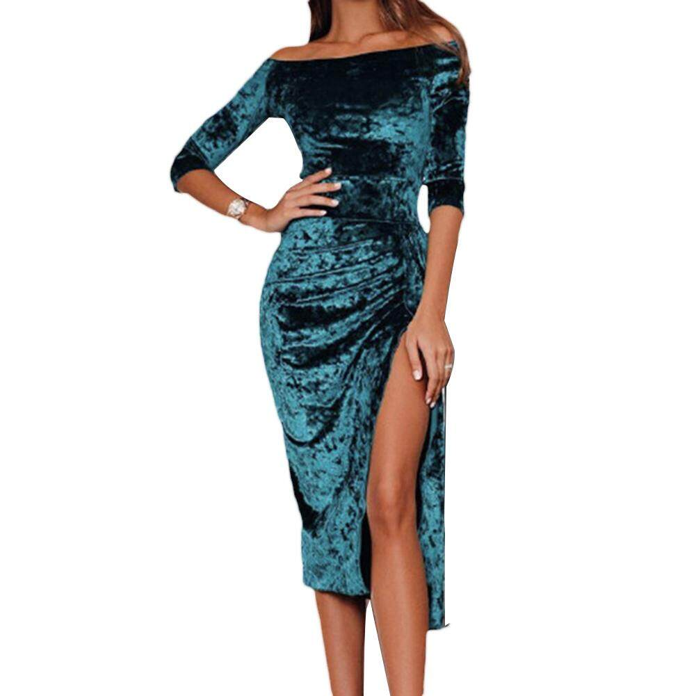 Women Off Shoulder Solid Color Velvet Half Sleeve High Split Bodycon Midi  Dress 6b405b9ad02d