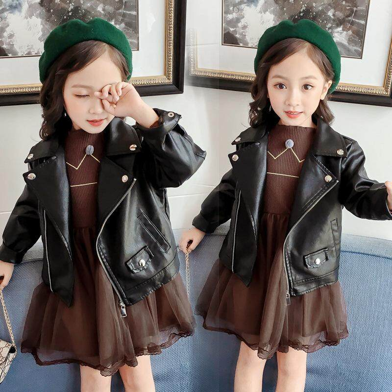 24d63d9c0 Autumn Winter Kids Leather Jacket Girls PU Jacket Children Leather Outwear  for Girl Baby Girl Jackets and Coats Boys