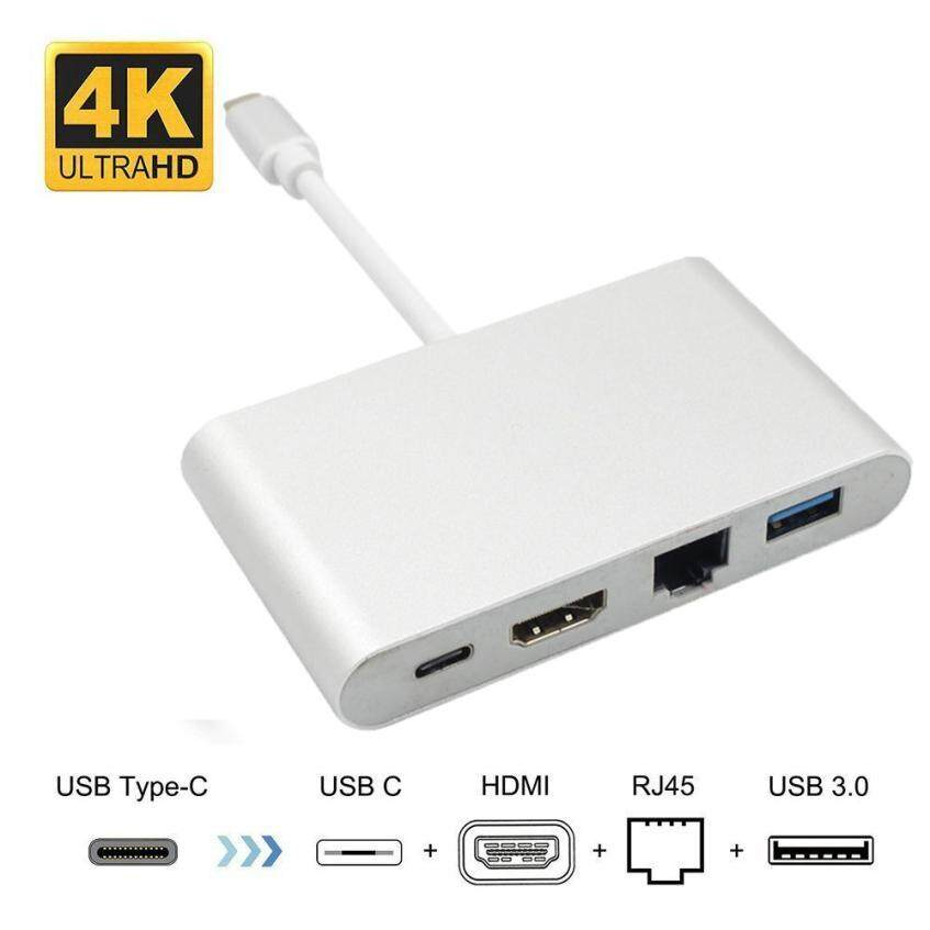 Usb C To Hdmi + Usb 3.0 Type C+ Gigabit Ethernet + Usb Type C Port Hub Adapter Usb-C To Super Speed Usb, Rj45 Lan Network Card, Video Audio Converter Cable Wire By I To.