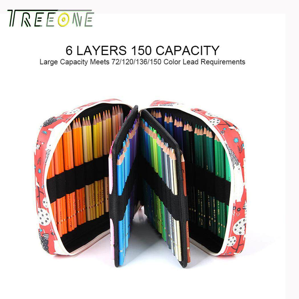 8a9439f5f579 Treeone 150 Slots Colored Pencils Universal Pencil Bag Pen Case School  Stationery PencilCase Drawing Painting Storage Pouch Pencil Box