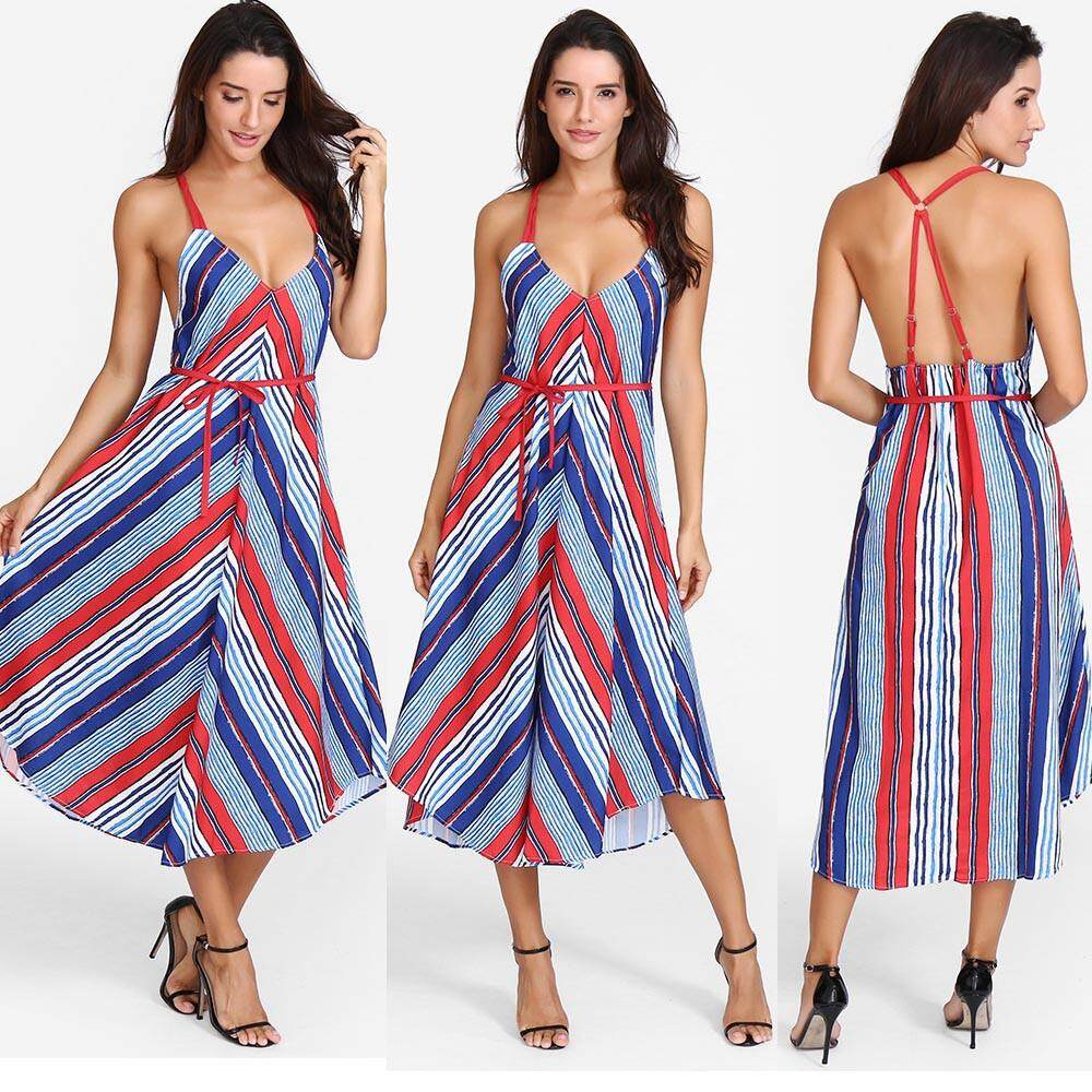 Aiipstore Women Sxey Striped Printing Bandage Dress Long Maxi Dress By Aiipstore.