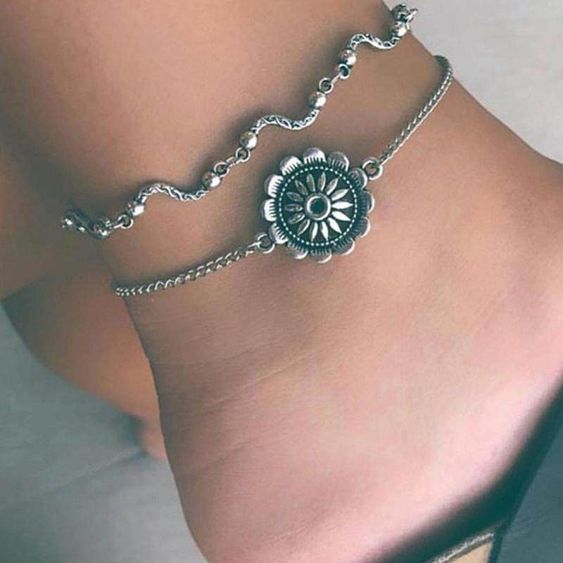 Fancyqube Bohemian Sunflower Charm Anklets For Women Vintage Silver Color  Geometric Wave Chain Ankle Bracelet Beach Foot Chain Jewelry