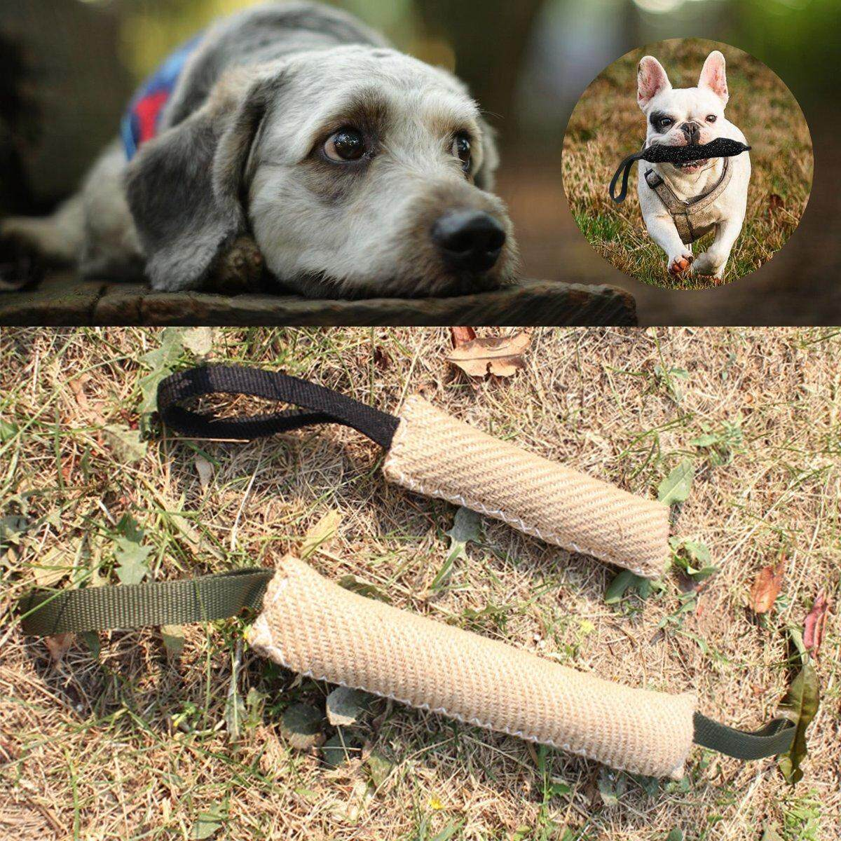 2 Handles Dogs Bite Sleeve Jute Arm Protection for Dog Puppy Training Chew