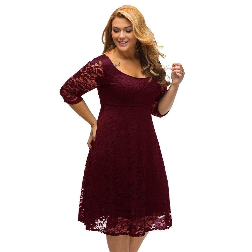 (Free Shipping Fee)Women Plus Size Lace Dress Floral O-Neck A- 0f0de7dd34d9