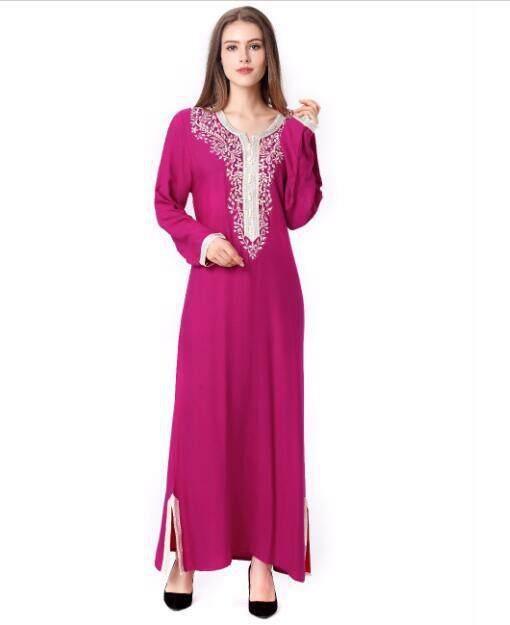 2017 Muslim women Long sleeve Dubai Dress maxi abaya jalabiya islamic women  dress clothing robe kaftan 5cf07bfc791d