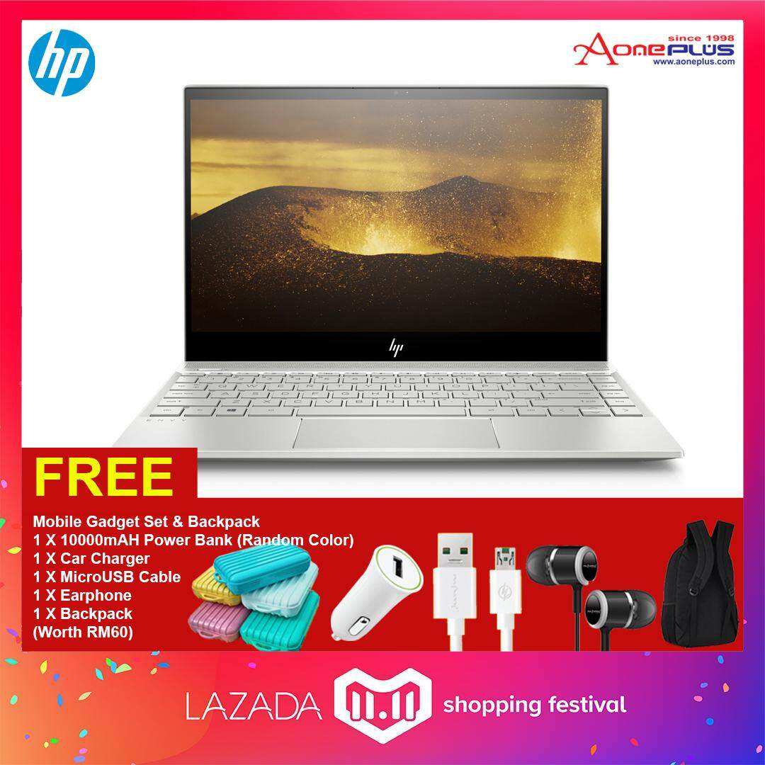HP ENVY 13-ad173TU Notebook 4BP24PA Natural Silver /13.3Inch FHD/i5-8250U/4GB/256GB/Win10+FREE Mobile Gadget+Backpack Malaysia