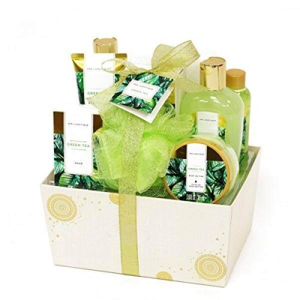 Spa Luxetique Green Tea Bath Gift Set For Her 8pc Premium Women