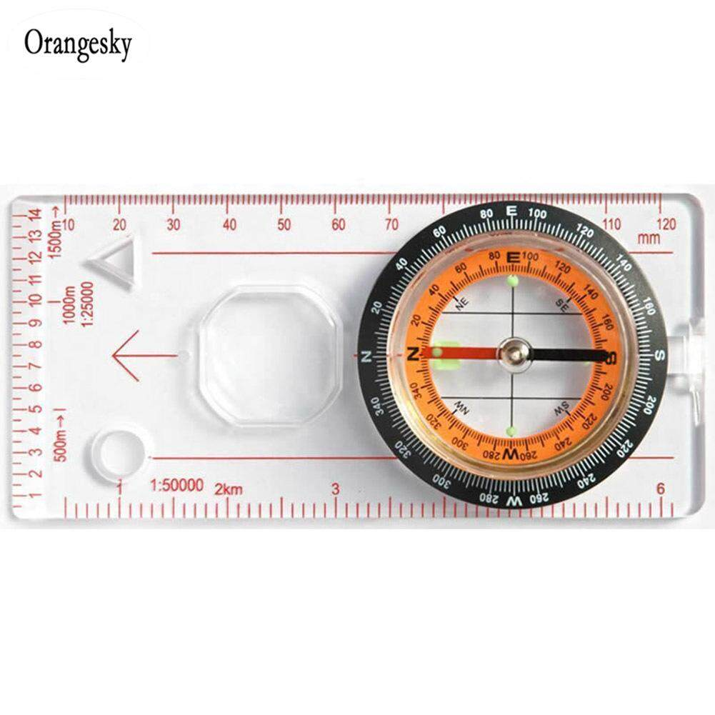 Orangesky Compass Ruler Scale Magnifying Scout For Hiking Camping Boating Orienteering Map By Orangesky.