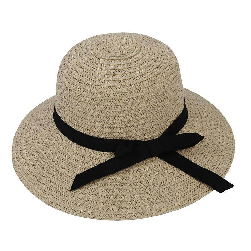 355c8962b2b Off-white Exquisite Black Bowknot Decorated Foldable Solid Color Sun Hat  For Women