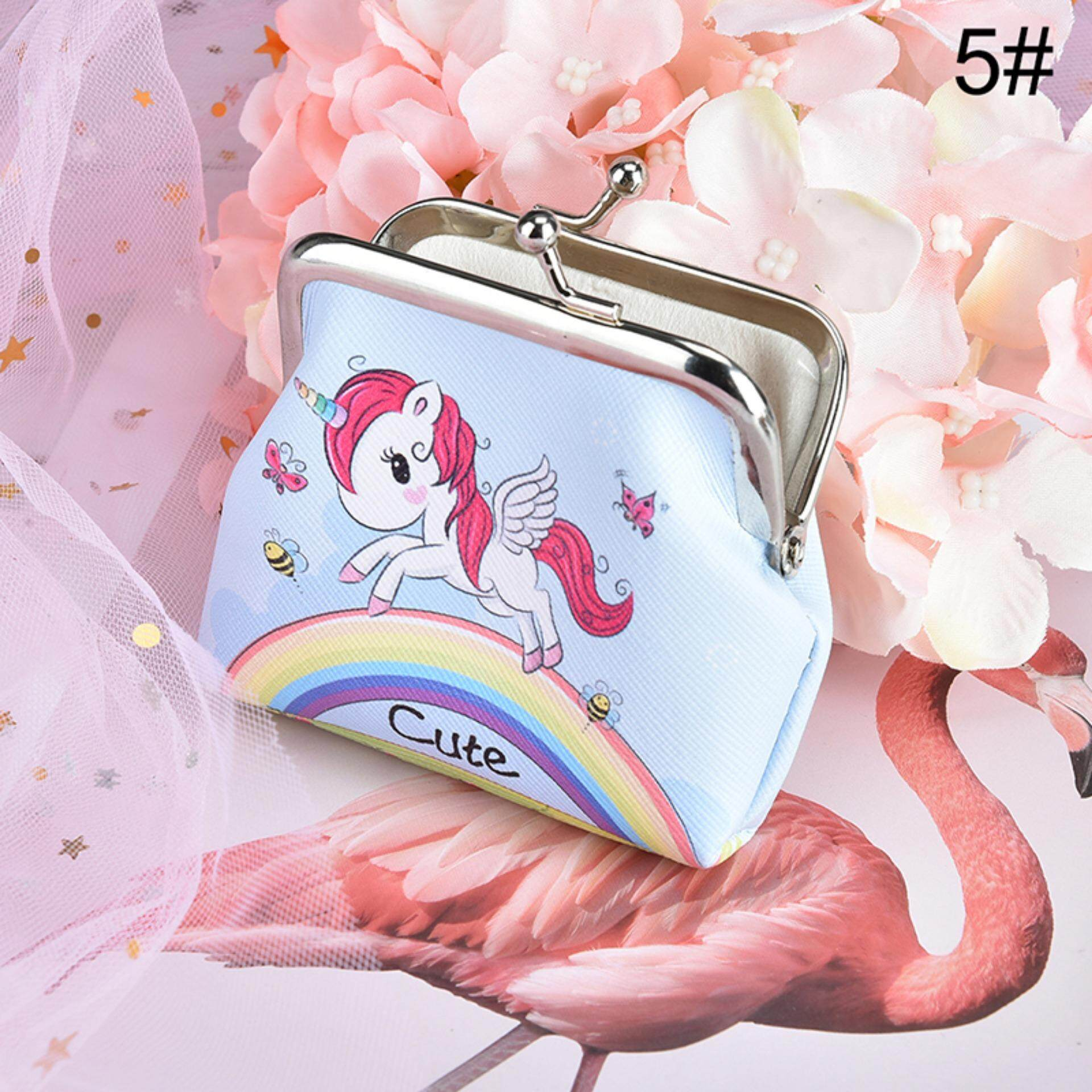 d0b0e9ff15bb9 Veli shy Unicorn Printed Fashion Pu Coin Purses Wallet Ladies Key Holder Change  Pouch