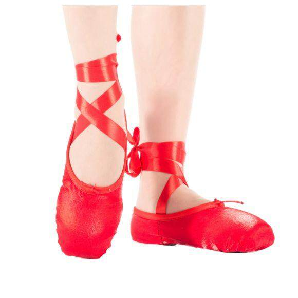 1 Pair Child Ballet Pointe Dance Shoes Professional Ballet Dance Shoes With Ribbons Shoes Red-Silk Size: 32 By Superbuy888.