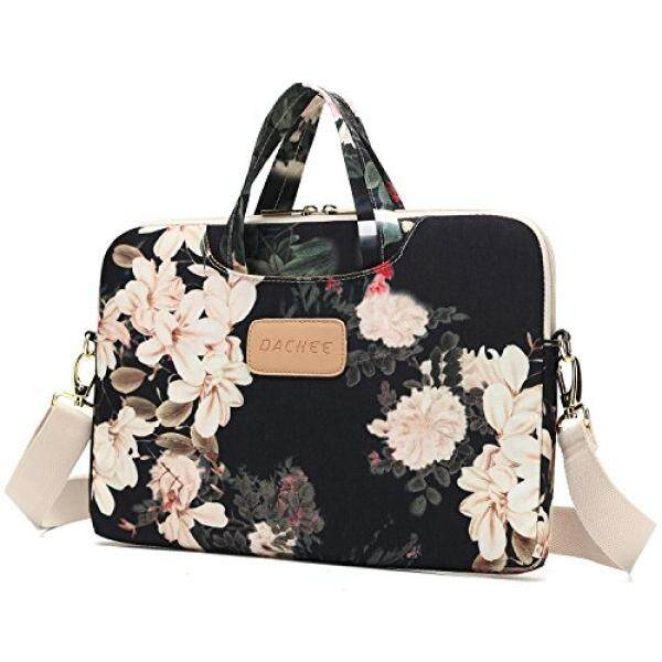 DACHEE Black Peony Patten Waterproof Laptop Shoulder Messenger Bag Case Sleeve for 12 Inch 13 Inch Laptop and Macbook Air Pro 11/12/13 Malaysia