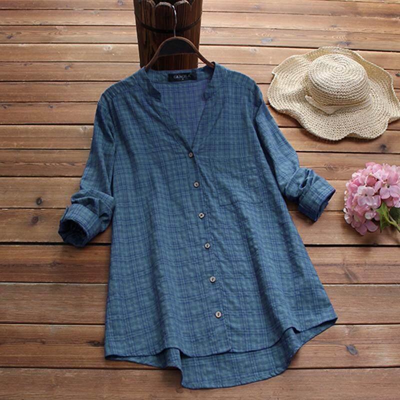 ea8190840c1c7 Gracila Plus Size Women Plaid Check Casual Shirt Tops Buttons Down  Asymmetrical Blouse