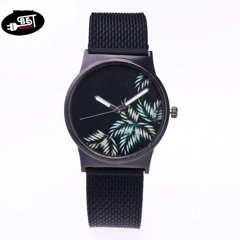 YBC Women Quartz Watch Flower Pattern Dial Silicone Strap Creative Wrist Watch