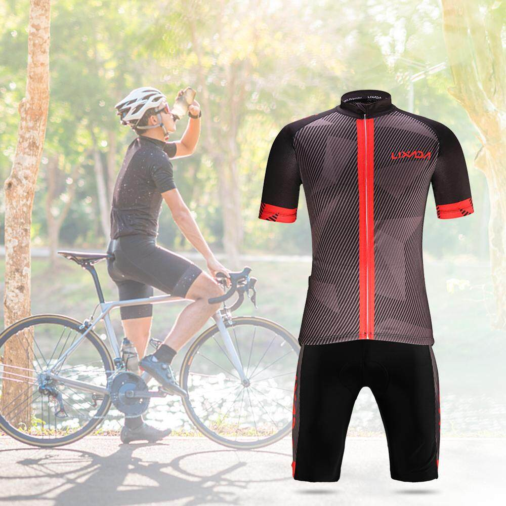 Mens Cycling Jersey Set Bicycle Short Sleeve Bike Shirt Quick-Dry Breathable with 3D Padded Shorts Pants//Bib Set